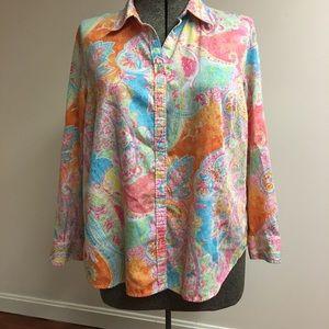Chaps Orange Paisley Long Sleeve Shirt
